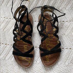 Sam Edelman Gemma Black Suede Gladiator Sandal